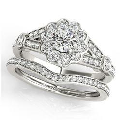 1.59 CTW Certified VS/SI Diamond 2Pc Wedding Set Solitaire Halo 14K White Gold - REF-237F6N - 31157