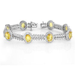 17.25 CTW Yellow Sapphire & Diamond Bracelet 14K White Gold - REF-400M2H - 10051