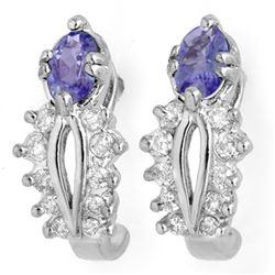 0.80 CTW Tanzanite & Diamond Earrings 18K White Gold - REF-50H2A - 10613