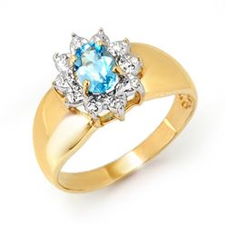 0.50 CTW Blue Topaz Ring 10K Yellow Gold - REF-15F6N - 12669