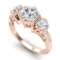 1.66 CTW VS/SI Diamond Solitaire Art Deco 3 Stone Ring 18K Rose Gold - REF-445F5N - 37224