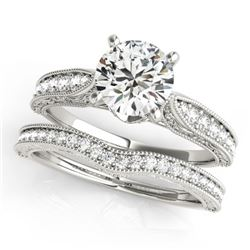 0.95 CTW Certified VS/SI Diamond Solitaire 2Pc Wedding Set Antique 14K White Gold - REF-144K2W - 314