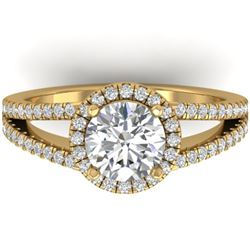 2 CTW Certified VS/SI Diamond Solitaire Micro Halo Ring 14K Yellow Gold - REF-512X2T - 30380