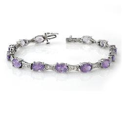 12.04 CTW Tanzanite & Diamond Bracelet 10K White Gold - REF-95H3A - 13806