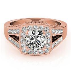 1.65 CTW Certified VS/SI Diamond Solitaire Halo Ring 18K Rose Gold - REF-608K9W - 27028