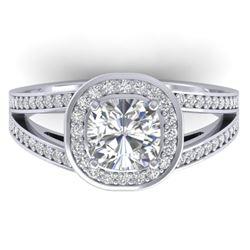 1.5 CTW Cushion Cut Certified VS/SI Diamond Art Deco Ring 14K White Gold - REF-429W8F - 30333
