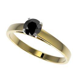 0.50 CTW Fancy Black VS Diamond Solitaire Engagement Ring 10K Yellow Gold - REF-19T3M - 32957