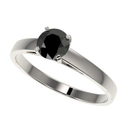 0.75 CTW Fancy Black VS Diamond Solitaire Engagement Ring 10K White Gold - REF-23N5Y - 32974