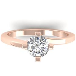 1 CTW Certified VS/SI Diamond Solitaire Ring 14K Rose Gold - REF-278W3F - 30397