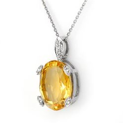 10.10 CTW Citrine & Diamond Necklace 18K White Gold - REF-62F4N - 11677