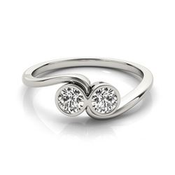 0.5 CTW Certified VS/SI Diamond 2 Stone Ring 18K White Gold - REF-82H4A - 28245