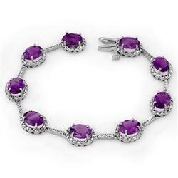 16.33 CTW Amethyst & Diamond Bracelet 14K White Gold - REF-119H6A - 11105