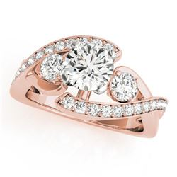 2.01 CTW Certified VS/SI Diamond Bypass Solitaire Ring 18K Rose Gold - REF-558T5M - 27670