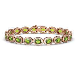 13.87 CTW Peridot & Diamond Halo Bracelet 10K Rose Gold - REF-251Y6K - 40479