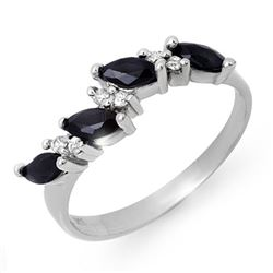 0.80 CTW Blue Sapphire & Diamond Ring 18K White Gold - REF-34X4T - 12876