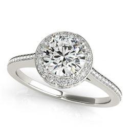 2.03 CTW Certified VS/SI Diamond Solitaire Halo Ring 18K White Gold - REF-619K6W - 26368
