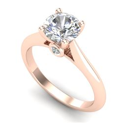 1.36 CTW VS/SI Diamond Solitaire Art Deco Ring 18K Rose Gold - REF-490W9F - 37290