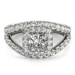 1.85 CTW Certified VS/SI Princess Diamond Solitaire Halo Ring 18K White Gold - REF-261W3F - 27195