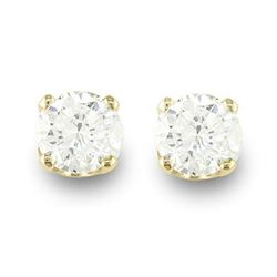 0.20 CTW Certified VS/SI Diamond Solitaire Stud Earrings 14K Yellow Gold - REF-17K3W - 12602