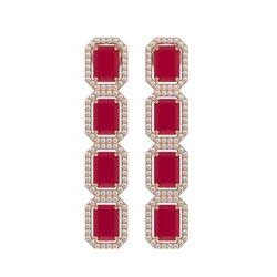 12.33 CTW Ruby & Diamond Halo Earrings 10K Rose Gold - REF-168F2N - 41430