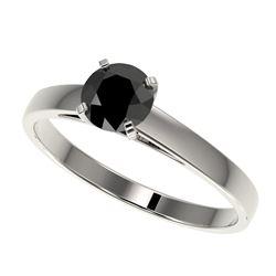 0.75 CTW Fancy Black VS Diamond Solitaire Engagement Ring 10K White Gold - REF-23H5A - 32974