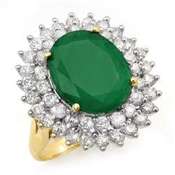 10.83 CTW Emerald & Diamond Ring 14K Yellow Gold - REF-263Y6K - 12961