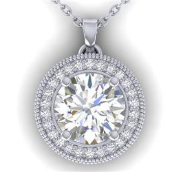 2 CTW I-SI Diamond Solitaire Art Deco Micro Halo Necklace 14K White Gold - REF-559X6T - 30531