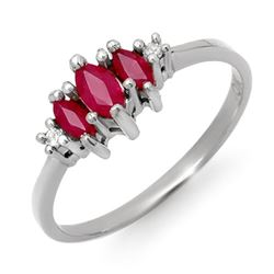 0.54 CTW Ruby & Diamond Ring 18K White Gold - REF-23T3M - 12306