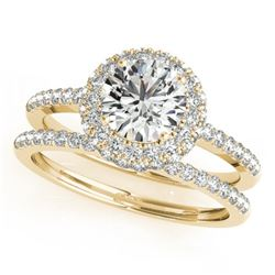 1.86 CTW Certified VS/SI Diamond 2Pc Wedding Set Solitaire Halo 14K Yellow Gold - REF-399A3X - 30929