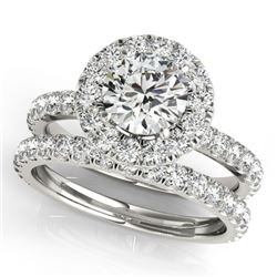 1.79 CTW Certified VS/SI Diamond 2Pc Wedding Set Solitaire Halo 14K White Gold - REF-180T8M - 30747