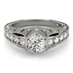 0.65 CTW Certified VS/SI Diamond Solitaire Antique Ring 18K White Gold - REF-137M3H - 27300