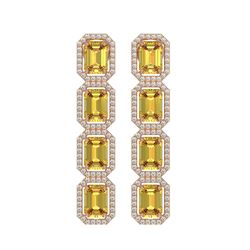 11.18 CTW Fancy Citrine & Diamond Halo Earrings 10K Rose Gold - REF-147Y5K - 41469