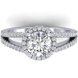 2 CTW Certified VS/SI Diamond Solitaire Micro Halo Ring 14K White Gold - REF-512M2H - 30378