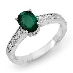 1.63 CTW Emerald & Diamond Ring 14K White Gold - REF-39T6M - 13613
