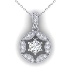 1.5 CTW Certified VS/SI Diamond Art Deco Stud Necklace 14K White Gold - REF-363W3F - 30453