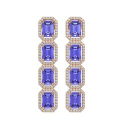 11.93 CTW Tanzanite & Diamond Halo Earrings 10K Rose Gold - REF-290K2W - 41436