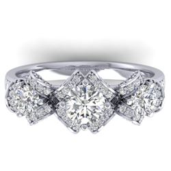 2 CTW Certified VS/SI Diamond Art Deco 3 Stone Ring Band 14K White Gold - REF-200N5Y - 30282