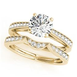 1.44 CTW Certified VS/SI Diamond Solitaire 2Pc Wedding Set 14K Yellow Gold - REF-383X8T - 31732