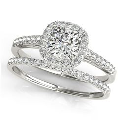 1.17 CTW Certified VS/SI Cushion Diamond 2Pc Set Solitaire Halo 14K White Gold - REF-227W6F - 31391