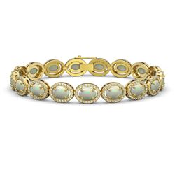 14.24 CTW Opal & Diamond Halo Bracelet 10K Yellow Gold - REF-298X2T - 40618