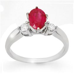 1.45 CTW Ruby & Diamond Ring 14K White Gold - REF-43T6M - 11779
