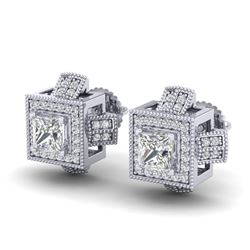 1.73 CTW Princess VS/SI Diamond Micro Pave Stud Earrings 18K White Gold - REF-254Y5K - 37184