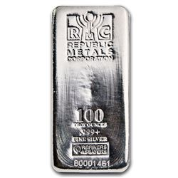 One piece 100 oz 0.999 Fine Silver Bar Republic Metals Corporation-84703