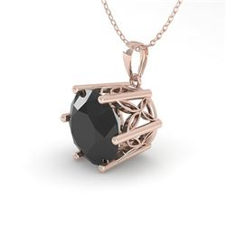 1 CTW Black Certified Diamond Solitaire Necklace 18K Rose Gold - REF-42W2F - 35873