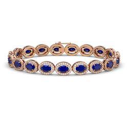 15.2 CTW Sapphire & Diamond Halo Bracelet 10K Rose Gold - REF-244K2W - 40458