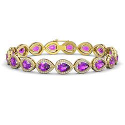 16.76 CTW Amethyst & Diamond Halo Bracelet 10K Yellow Gold - REF-274N4Y - 41131