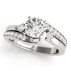 1.75 CTW Certified VS/SI Diamond Bypass Solitaire Ring 18K White Gold - REF-517K6W - 27702