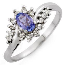 0.55 CTW Tanzanite & Diamond Ring 18K White Gold - REF-38H5A - 10324