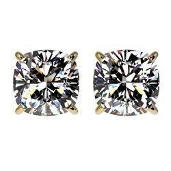 2 CTW Certified VS/SI Quality Cushion Cut Diamond Stud Earrings 10K Yellow Gold - REF-585H2A - 33099