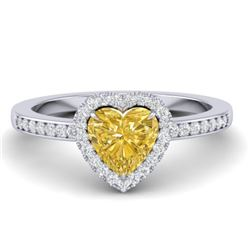 1 CTW Citrine & Micro Pave Ring Heart Halo 14K White Gold - REF-34X9T - 21403